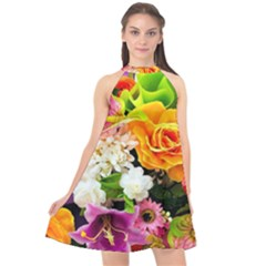Colorful Flowers Halter Neckline Chiffon Dress  by BangZart