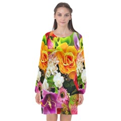 Colorful Flowers Long Sleeve Chiffon Shift Dress  by BangZart