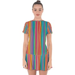 Colorful Striped Background Drop Hem Mini Chiffon Dress by TastefulDesigns