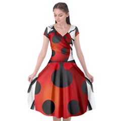 Ladybug Insects Cap Sleeve Wrap Front Dress by BangZart