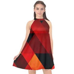Abstract Triangle Wallpaper Halter Neckline Chiffon Dress