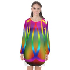 Colorful Easter Egg Long Sleeve Chiffon Shift Dress