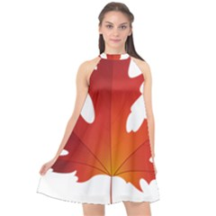 Autumn Maple Leaf Clip Art Halter Neckline Chiffon Dress  by BangZart