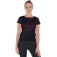 Abstract Pattern Honeycomb Short Sleeve Sports Top  by BangZart