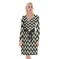 Chevron9 Black Marble & Beige Linen Long Sleeve Velvet Front Wrap Dress by trendistuff