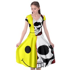 Skull Behind Your Smile Cap Sleeve Wrap Front Dress by BangZart