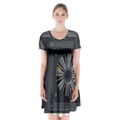 Special Black Power Supply Computer Short Sleeve V Neck Flare Dress by BangZart