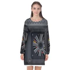 Special Black Power Supply Computer Long Sleeve Chiffon Shift Dress