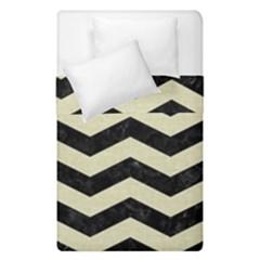 Chevron3 Black Marble & Beige Linen Duvet Cover Double Side (single Size) by trendistuff