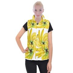 Bananas Decoration Women s Button Up Puffer Vest by BangZart