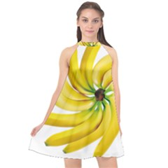 Bananas Decoration Halter Neckline Chiffon Dress
