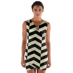Chevron2 Black Marble & Beige Linen Wrap Front Bodycon Dress by trendistuff