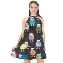 Sheep Cartoon Colorful Black Pink Halter Neckline Chiffon Dress  by BangZart