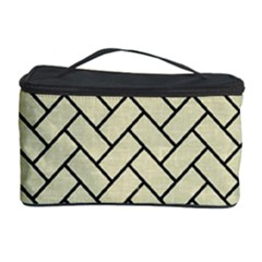 Brick2 Black Marble & Beige Linen (r) Cosmetic Storage Case by trendistuff