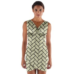 Brick2 Black Marble & Beige Linen (r) Wrap Front Bodycon Dress by trendistuff