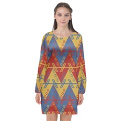 Aztec South American Pattern Zig Long Sleeve Chiffon Shift Dress  by BangZart