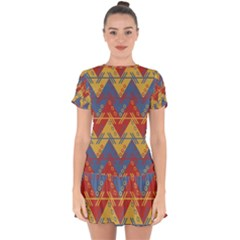 Aztec South American Pattern Zig Drop Hem Mini Chiffon Dress by BangZart