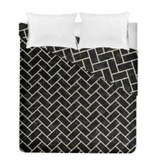 Brick2 Black Marble & Beige Linen Duvet Cover Double Side (full/ Double Size) by trendistuff