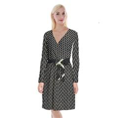 Brick2 Black Marble & Beige Linen Long Sleeve Velvet Front Wrap Dress by trendistuff