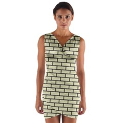 Brick1 Black Marble & Beige Linen (r) Wrap Front Bodycon Dress by trendistuff