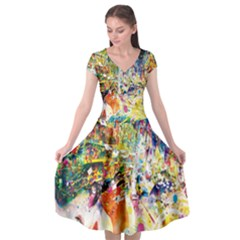 Multicolor Anime Colors Colorful Cap Sleeve Wrap Front Dress by BangZart