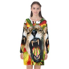 Reggae Lion Long Sleeve Chiffon Shift Dress