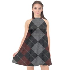 Wool Texture With Great Pattern Halter Neckline Chiffon Dress  by BangZart