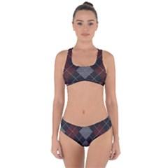 Wool Texture With Great Pattern Criss Cross Bikini Set by BangZart