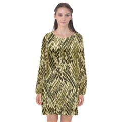 Yellow Snake Skin Pattern Long Sleeve Chiffon Shift Dress
