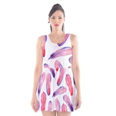 Watercolor Pattern With Feathers Scoop Neck Skater Dress by BangZart
