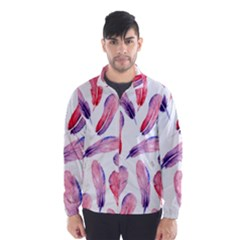 Watercolor Pattern With Feathers Wind Breaker (men) by BangZart