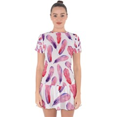 Watercolor Pattern With Feathers Drop Hem Mini Chiffon Dress by BangZart