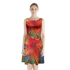 Vintage Colors Flower Petals Spiral Abstract Sleeveless Waist Tie Chiffon Dress by BangZart