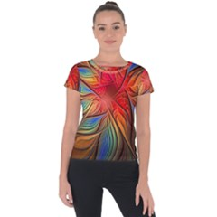 Vintage Colors Flower Petals Spiral Abstract Short Sleeve Sports Top  by BangZart