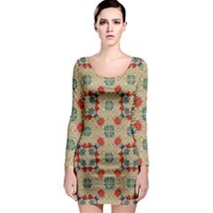 Traditional Scandinavian Pattern Long Sleeve Bodycon Dress by BangZart