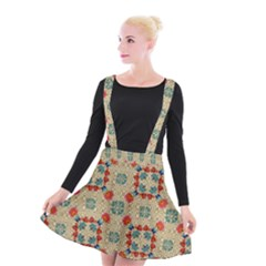 Traditional Scandinavian Pattern Suspender Skater Skirt by BangZart