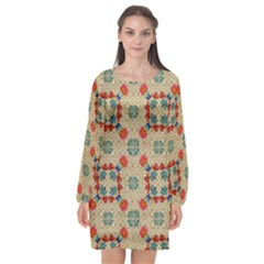 Traditional Scandinavian Pattern Long Sleeve Chiffon Shift Dress