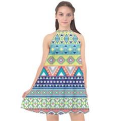 Tribal Print Halter Neckline Chiffon Dress