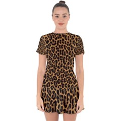 Tiger Skin Art Pattern Drop Hem Mini Chiffon Dress by BangZart