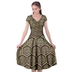 Texture Hexagon Pattern Cap Sleeve Wrap Front Dress by BangZart