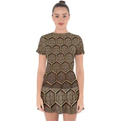 Texture Hexagon Pattern Drop Hem Mini Chiffon Dress by BangZart