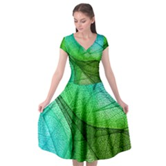 Sunlight Filtering Through Transparent Leaves Green Blue Cap Sleeve Wrap Front Dress by BangZart