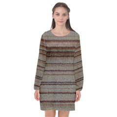Stripy Knitted Wool Fabric Texture Long Sleeve Chiffon Shift Dress  by BangZart