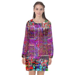 Technology Circuit Board Layout Pattern Long Sleeve Chiffon Shift Dress  by BangZart