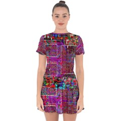Technology Circuit Board Layout Pattern Drop Hem Mini Chiffon Dress