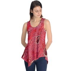 Red Peacock Floral Embroidered Long Qipao Traditional Chinese Cheongsam Mandarin Sleeveless Tunic