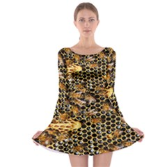 Queen Cup Honeycomb Honey Bee Long Sleeve Skater Dress by BangZart