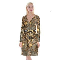 Queen Cup Honeycomb Honey Bee Long Sleeve Velvet Front Wrap Dress by BangZart