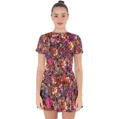 Psychedelic Flower Drop Hem Mini Chiffon Dress by BangZart