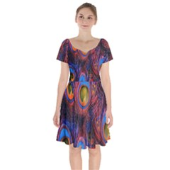 Pretty Peacock Feather Short Sleeve Bardot Dress by BangZart